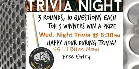 Wednesday Night Trivia @ Old Possum Brewing Co.  tickets