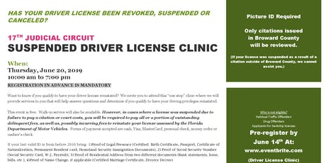 17TH JUDICIAL CIRCUIT SUSPENDED DRIVER LICENSE CLINIC tickets
