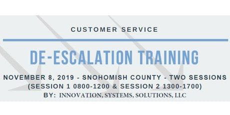 De-Escalation Training: For Frontline Service Provider (Nov 8 - Snohomish County) tickets
