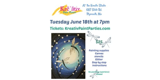 Dragonfly painting- Tuesday June 18th at 7pm- Kreativ Studio