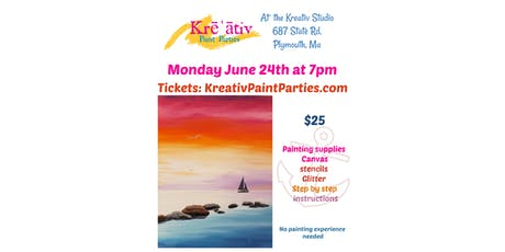 Tranquil ocean painting- Monday June 24th at 7pm -Kreativ Studio  tickets