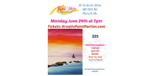 Tranquil ocean painting- Monday June 24th at 7pm -Kreativ Studio