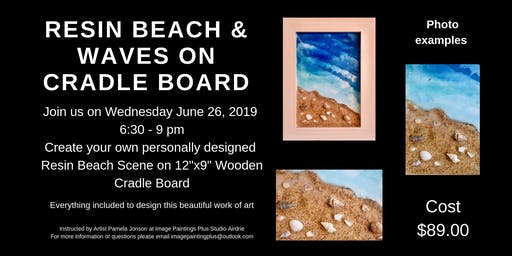 Resin Beach & Waves on Wooden Cradle Board