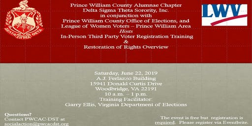 In-Person Third Party Voter Registration Training and Restoration of Rights Overview