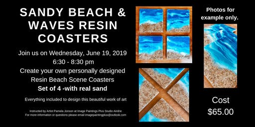 Sandy Beach & Waves Resin Coasters Workshop