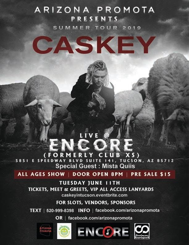 Caskey Live Tuesday June 4th in Tucson @Encore All Ages banner
