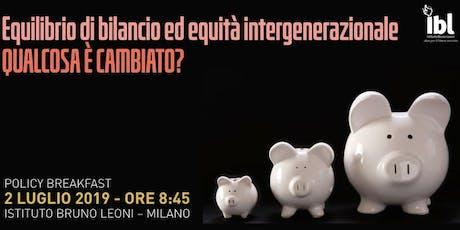 Equilibrio di bilancio ed equità intergenerazionale: qualcosa è cambiato? biglietti