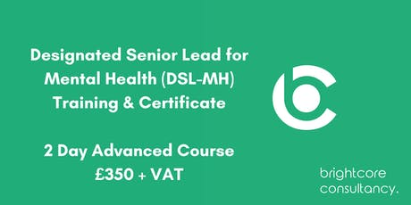 Designated Senior Lead for Mental Health (DSL-MH) Training & Certificate 2 Day Advanced Course: Southampton tickets