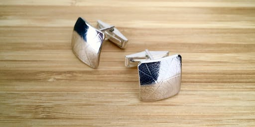 Leaf Texture Silver Cuff Links