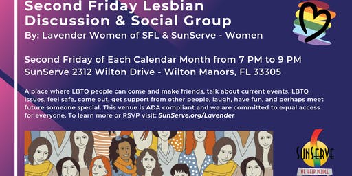 Lavender Women LBTQ  Social Group (2nd Friday of month)