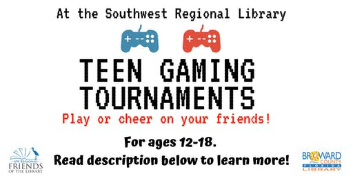 Teen Gaming Tournaments at the Southwest Regional Library presented by Gamers United PPCHS. Ages 12-18.
