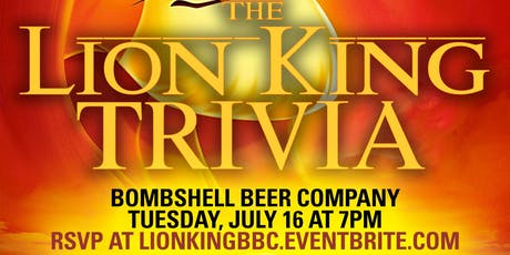 Lion King Trivia at Bombshell Beer Company tickets