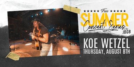 Koe Wetzel live at JBGB August 8th tickets