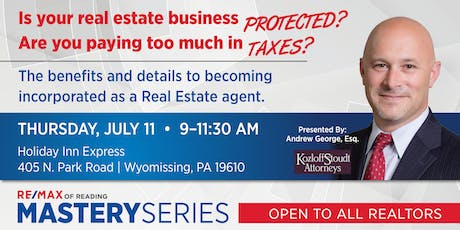 Is your real estate business protected? Are you paying too much in taxes? tickets