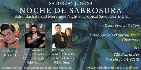 NOCHE DE SABROSURA - Salsa, Bachata and Merengue Night at Tropical Savor entradas