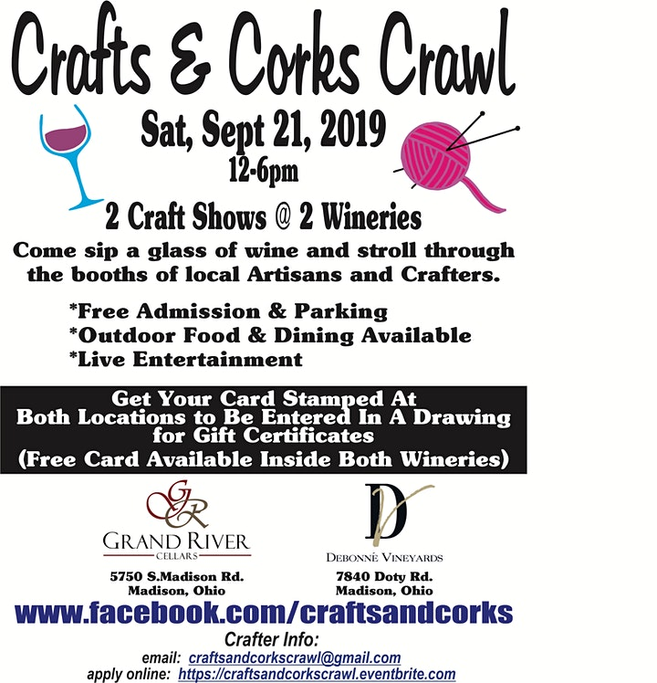 Crafts & Corks Crawl Crafter Application (GRC AND Debonne locations) image