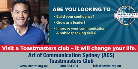 Art of Communication Sydney (ACS) Toastmasters Meeting tickets