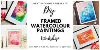 DIY Framed Watercolour Paintings by Creative Nights (Frame Included)