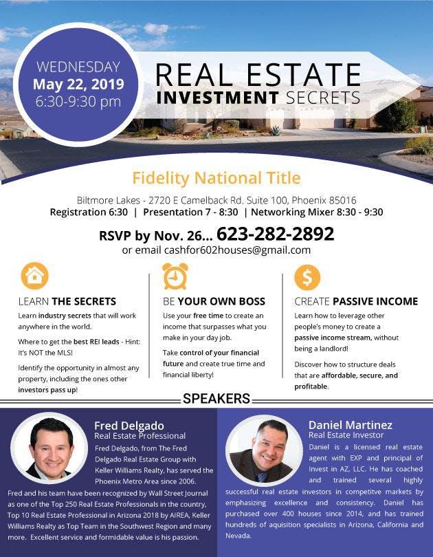 Real Estate Investment Secrets - FREE WORKSHOP