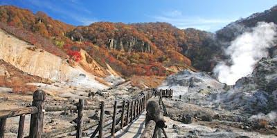 Niseko walking group hike around Mount Usu overlooking Lake Toya