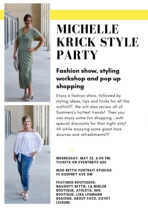 Michelle Krick Style Party:  Fashion show, Workshop, Pop up shopping banner