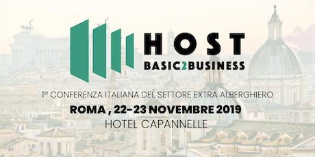 HostB2B, 1º Conferenza Italiana del settore Extra Alberghiero biglietti
