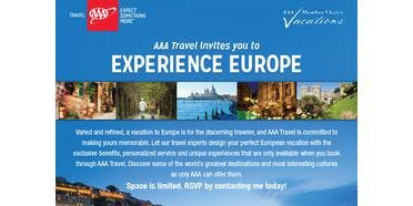 You are invited to our AAA Member Choice Vacations Europe Event