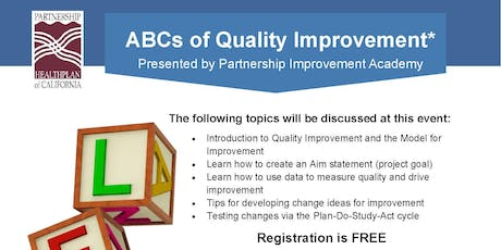 ABC's of Quality Improvement tickets