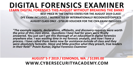 Digital Forensics Examiner (DFE)  tickets