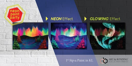 Sip & Paint Night : NEON Paint Party - Glowing Northern Light