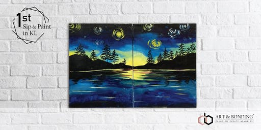 Sunday Sip & Paint : Family Jigsaw Puzzle Painting - Starry Lake