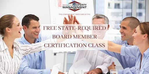 FREE STATE-REQUIRED BOARD MEMBER CERTIFICATION CLASS FOR CONDO & HOA