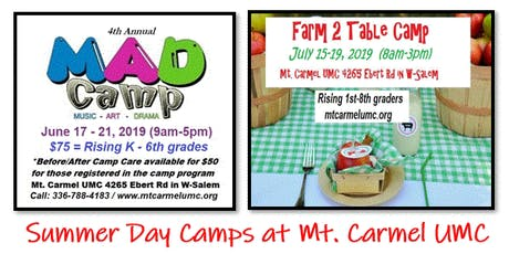 Mt. Carmel UMC Summer Camp 2019 Registration  tickets
