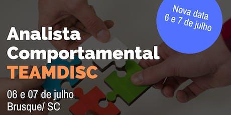Formação Analista Comportamental TEAMDISC Profiler - Brusque/SC ingressos