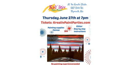 Thursday June 27th at 7pm - flag sky painting- Kreativ studio