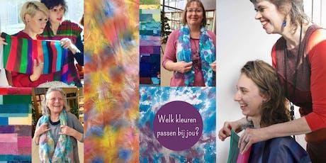 Kleurenanalyse en het beschilderen van een zijdesjaal tickets