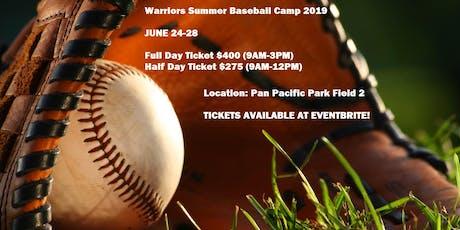 Warriors Summer Baseball Camp 2019 tickets