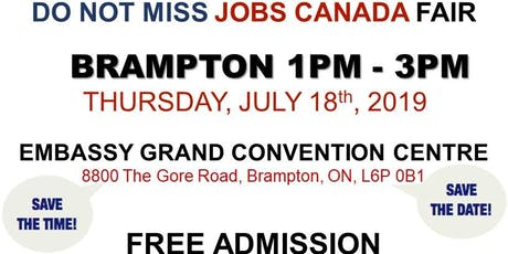 Free: Brampton Job Fair - July 18th, 2019 tickets