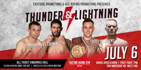 """Thunder and Lightening"" Professional Boxing up close and personal tickets"