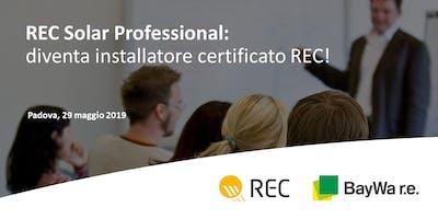 Padova, REC Solar Professional: diventa installatore certificato REC!
