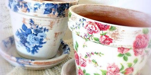 Crazy Crafty Chicks - Vintage decoupage flowerpots CANCELLED