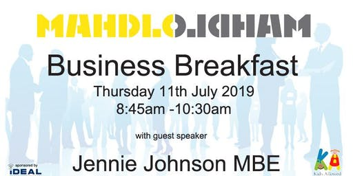 Mahdlo Business Breakfast with guest speaker Jennie Johnson MBE