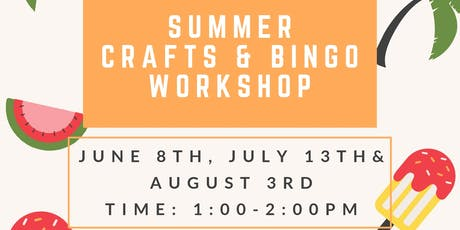 Summer Themed Crafts and Bingo tickets