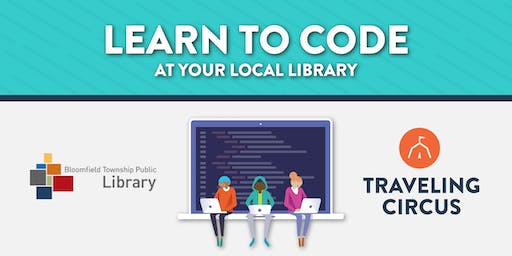 FREE Intro to Coding Workshop at the Bloomfield Township Public Library