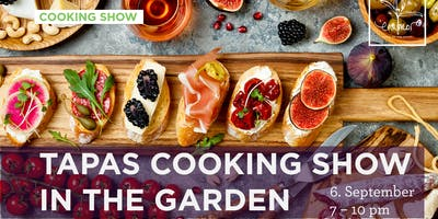 Tapas cooking show in the garden