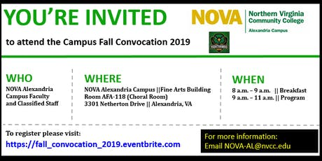 NOVA Alexandria Campus Fall Convocation 2019 tickets