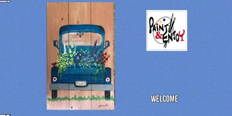 """Paint and Enjoy at Delta Pizza  """"Blue Truck"""" on Wood  tickets"""