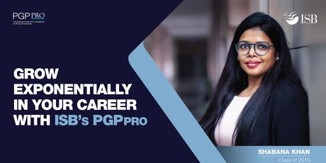 PGP in Management for Working Professionals (PGPpro) Bangalore Info session tickets