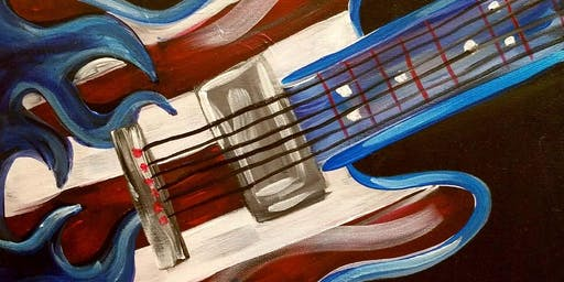 Patriotic Guitar Painting at Parrot's