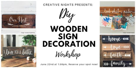 DIY Wooden Sign Decoration Workshop by Creative Nights Tickets